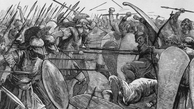 Spartans Engaging in Battle