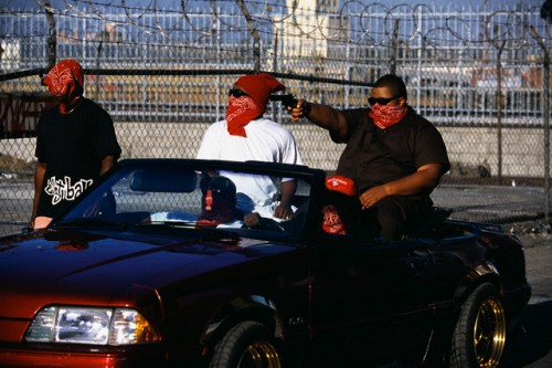 Disguised Bloods Gang Members in Parking Lot