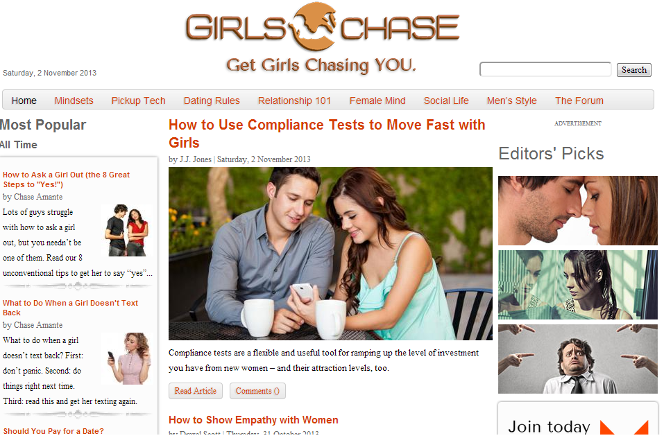 Online dating girlschase test