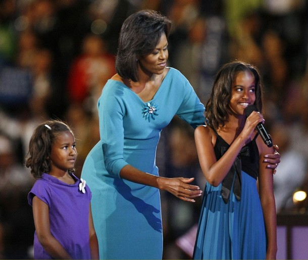 Obama with daughters Sasha and Malia speak via satellite in Denver