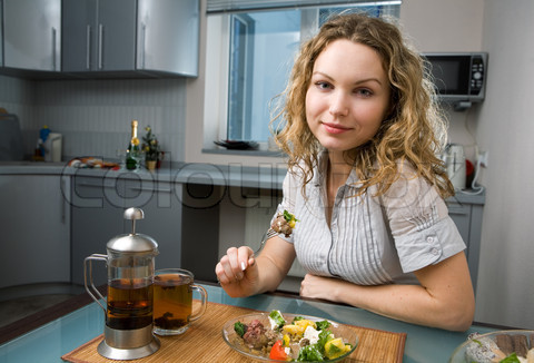 woman on kitchen