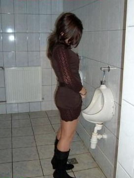Girl pissing while standing