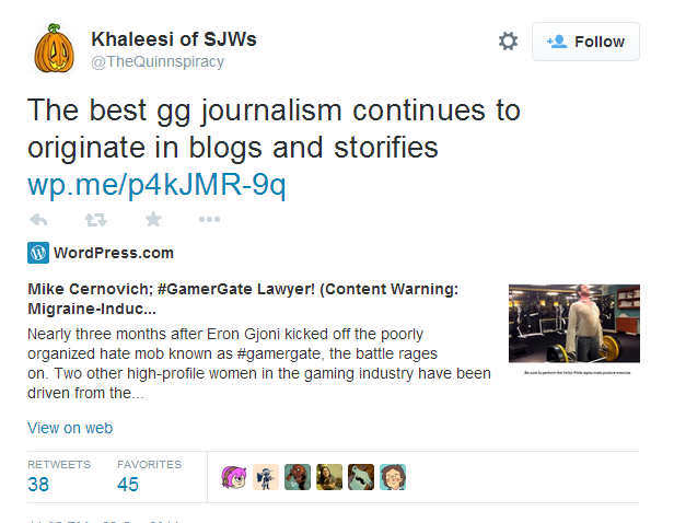 Khaleesi of SJWs on Twitter   The best gg journalism continues to originate in blogs and storifies http   t.co TlvH855QvG