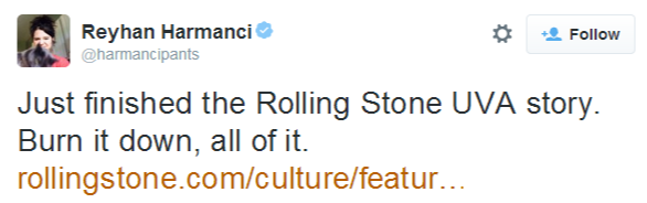 Reyhan Harmanci on Twitter   Just finished the Rolling Stone UVA story. Burn it down, all of it. http   t.co pZ7tLiOwaq
