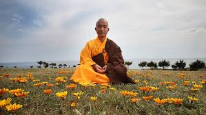 Buddhist meditating on Grass