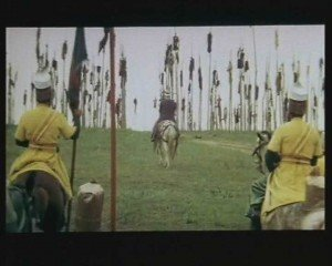 Despite his legendary cruelty, Vlad Tepes is considered by Romanians to be a hero and protector of Christendom. This is a scene from a Romanian historical movie about him, 'Vlad Tepes' (1979).