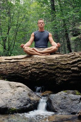 Man Meditating at Day Spa
