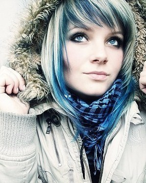 Beautiful blue haired girl