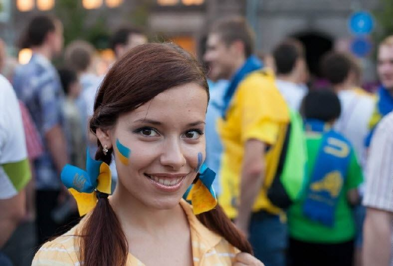 Another Ukrainian football fan. Observe the difference