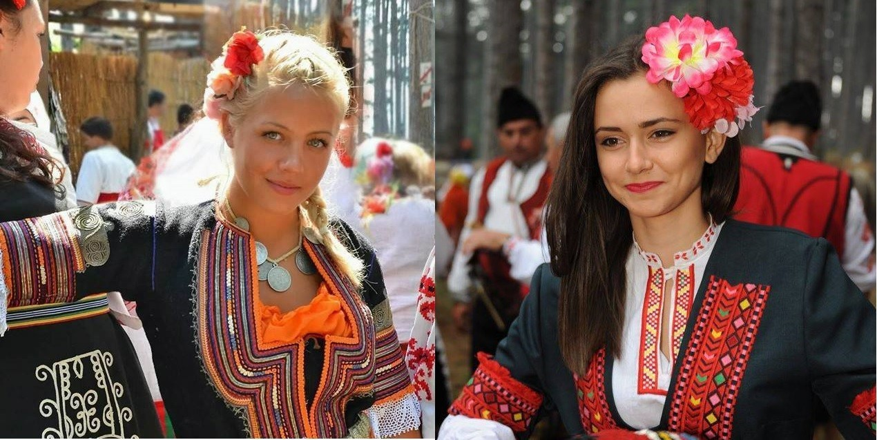 Bulgarian girls during the numerous festivals that celebrate the Bulgarian identity