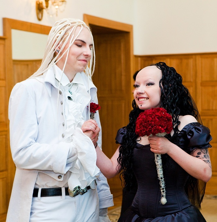 Goth wedding in Moscow. Hope condoms from the Western world have reached them too