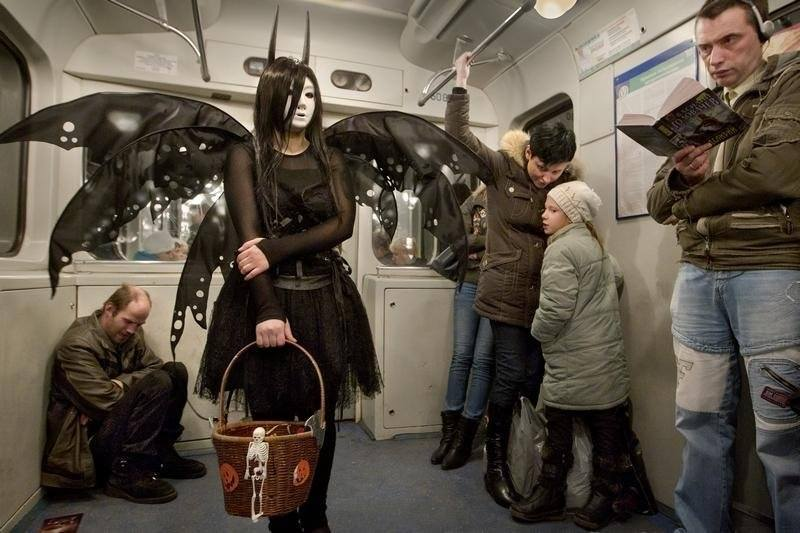 Halloween in Moscow's metro. Don't move, maybe it will go away from itself
