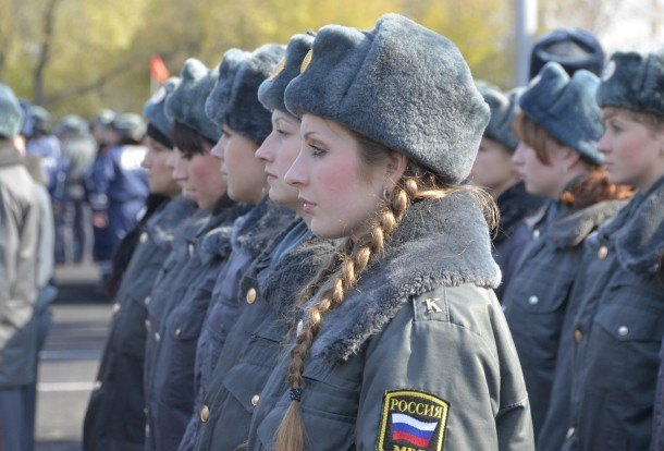Russian female police officers during a parade