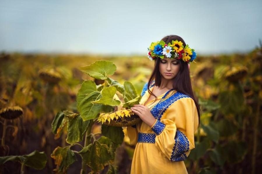 Ukrainian girl in traditional garment