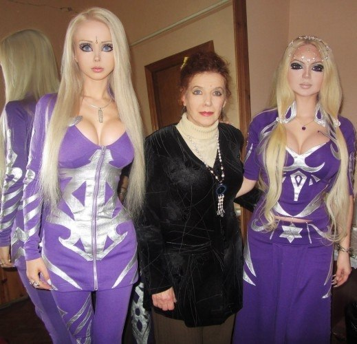 Valeria Lukyanova, the Ukrainian Barbie with her gran and a friend. Would you question mark