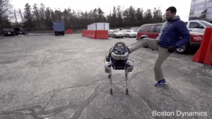 Boston Dynamics robots are being designed so they can't be subdued - this model quickly recovers from a swift kick on ice