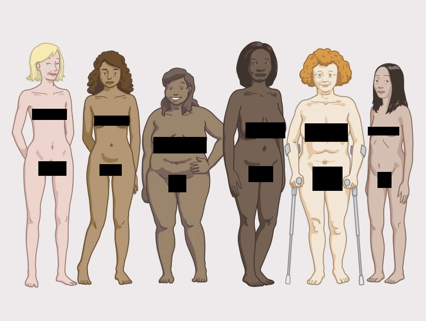 For obvious reasons, the young German looking blonde girl is smiley, thin and attractive, the other women are depicted as overweight, in a slouched posture or frowning. They constitute a majority. The two white woman are a minority in the group, included an old white woman that seems disabled.