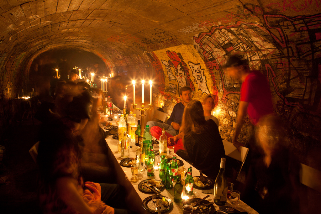 A late supper in an abandoned air-raid shelter