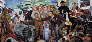 "Diego Rivera's famous mural: ""Gloriosa Victoria"", depicting the Dulles brothers, the American ambassador Peurifoy, and Eisenhower's face on a bomb greeting Castillo Armas, who seized power in a U.S. backed coup"