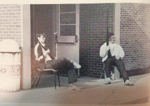 A teacher and student guarding the entrance to their Delaware school in 1973 after a shooter called in a threat. No gunman ever arrived