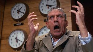 Network (1976) depicts a madman news anchor trying to wake up the masses from the delusion of television