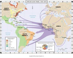 Notice most of the slave trade arrows do no point to the U.S.