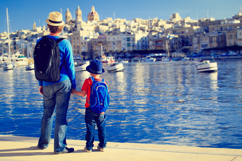 father and son looking at city of Valetta