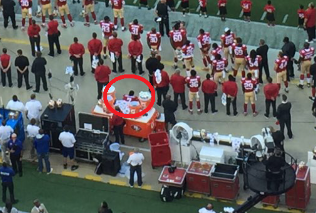 Kaepernick during the anthem