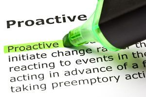 The word 'Proactive' highlighted in green with felt tip pen; Shutterstock ID 78116614