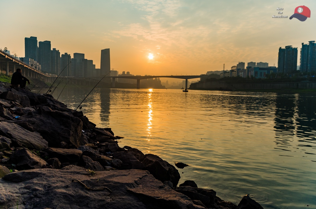 Sunset at the Jialing River in Chongqing, China