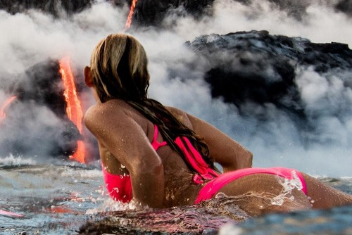 Some weeks ago, Alison Teal was busy showing herself near an erupting volcano. Notice another strategic part-displaying of her butt.