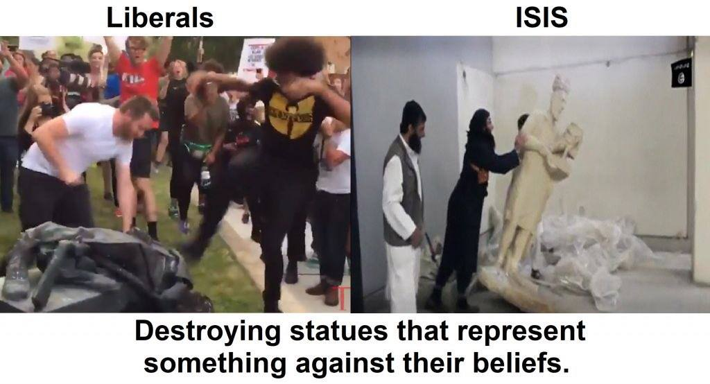 ISIS liberals statues